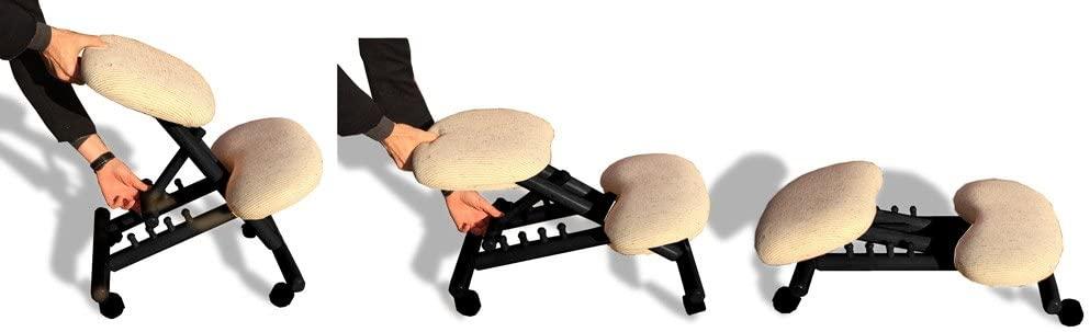 Sedia ergonomica telaio nero, sedute color naturale   Cinius