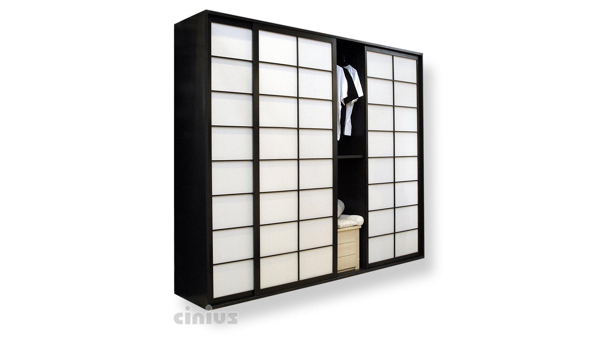 Armadio in faggio ad ante scorrevoli in stile giapponese