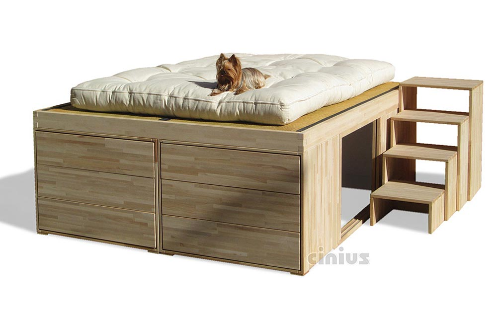Impero Bed: with 6 drawers and telescopic ladder