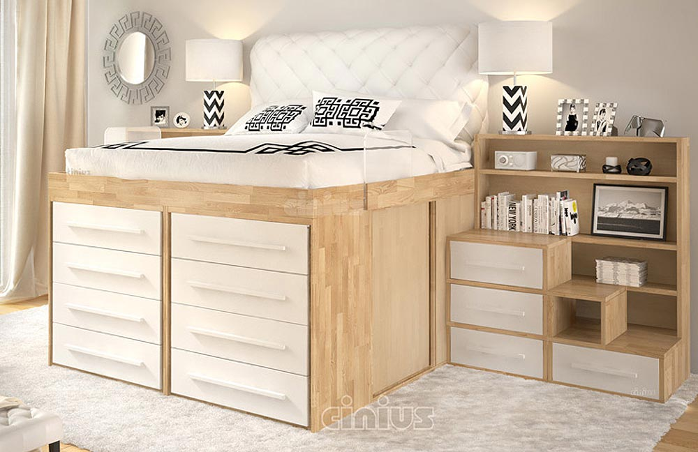 Impero Bed: with 8 drawers, plexiglass safety railing, ladder with drawers and storage bookcase