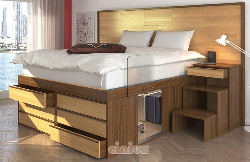 Impero Bed: with 6 drawers, high edge handle, plexiglass safety railing, telescopic ladder with drawer